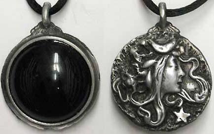 Art Nouveau Goddess Scrying Pendant