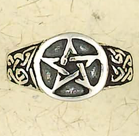 Wiccan Masculine Sterling Silver Pentagram Ring
