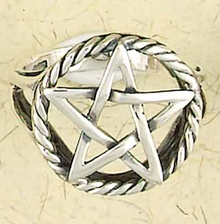 Wiccan Sterling Silver Open Weave Pentagram Ring