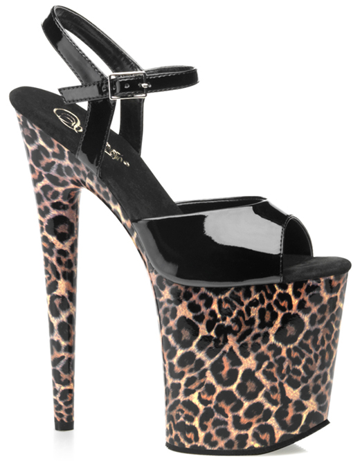 Fetish Dancer Black Leopard 8 Inch Platform Heels