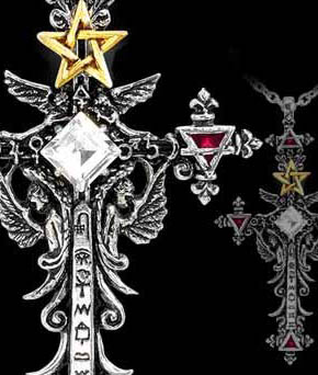 Alchemy Gothic Illuminati Cross Pentagram Jewel Pendant