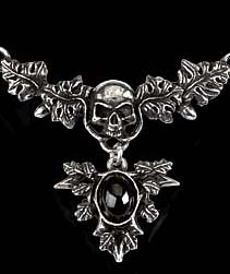 Alchemy Gothic Catafalque Skull & Dead Leaves Choker