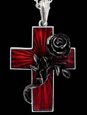 Alchemy Gothic Black Rose Cross Marriage Necklace