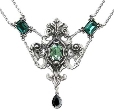Alchemy Gothic Queen of The Night Green Jewel Choker