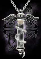 Alchemy Gothic Rod of Asclepius God of Healing Pendant
