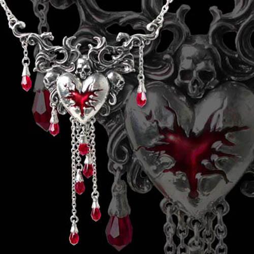 Alchemy Gothic Bleeding Heart Skull Crystal Necklace