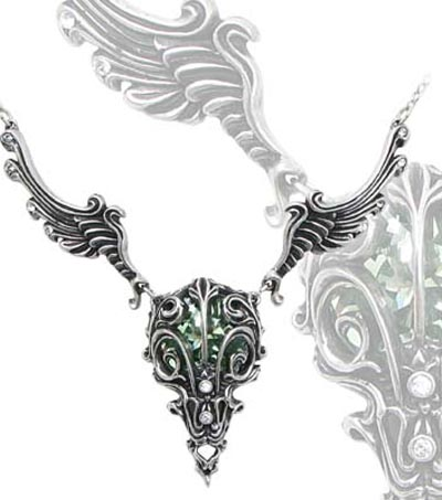 Alchemy Gothic Caput Aves Bird Skull Crystal Necklace