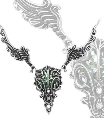 Alchemy Gothic Caput Aves Bird Skull Crystal Necklace