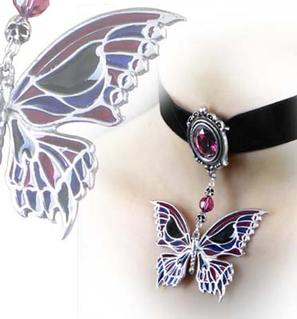 Alchemy Gothic Death's Head Butterfly Choker