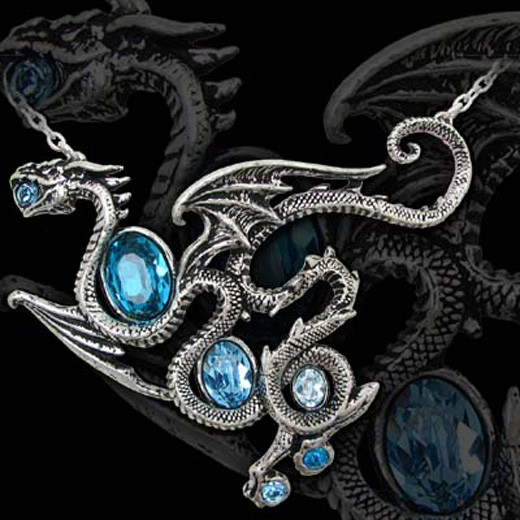 Alchemy Gothic Aqua Dragon Swarovski Necklace