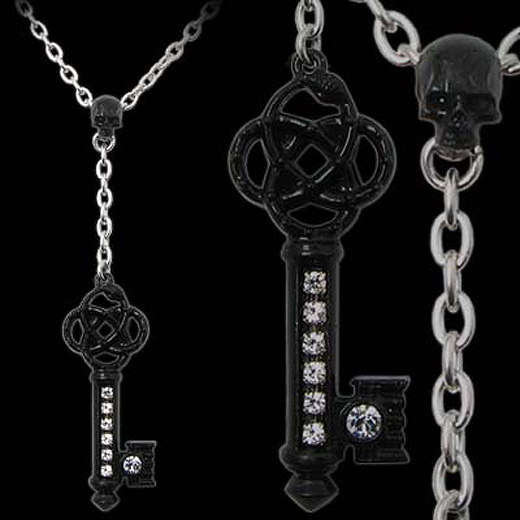 Alchemy Gothic Claustramoris Skull Key Necklace