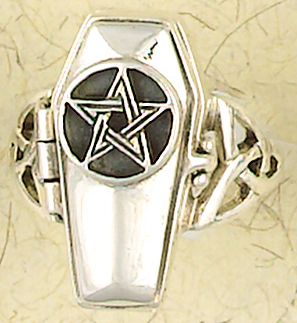 Sterling Silver Celtic Pentagram Coffin Poison Ring