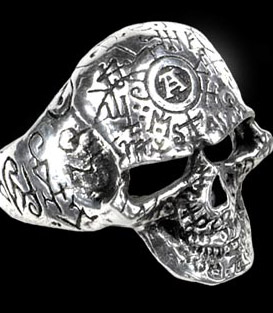 Alchemy Gothic Ancient Wisdom Engraved Omega Skull Ring