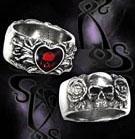 Alchemy Gothic Vampire Broken Heart Skull Roses Ring