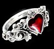 Alchemy Gothic Betrothal Heart Vampire Lovers Ring