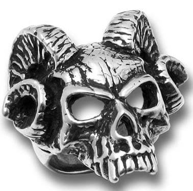 Alchemy Gothic Hell's Doorman Occult Ram Ring