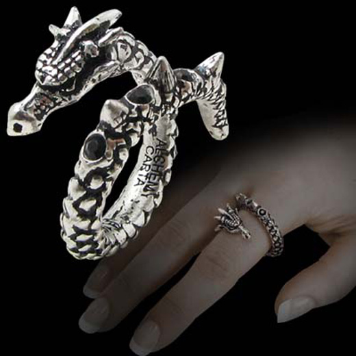 Alchemy Gothic Vis Viva Coiled Dragon Ring