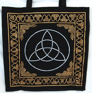 Gold Black Celtic Witch Triquetra Tote Bag