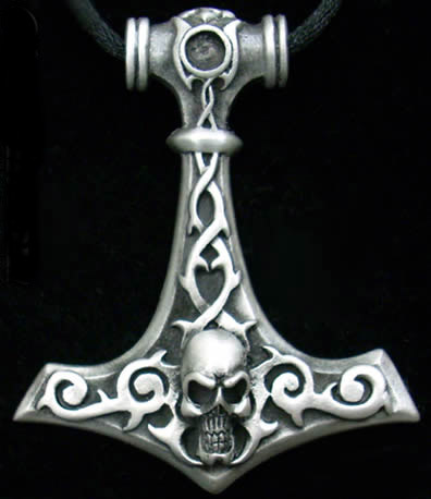 Viking God of Thunder HUGE Thor's Hammer Skull Pendant