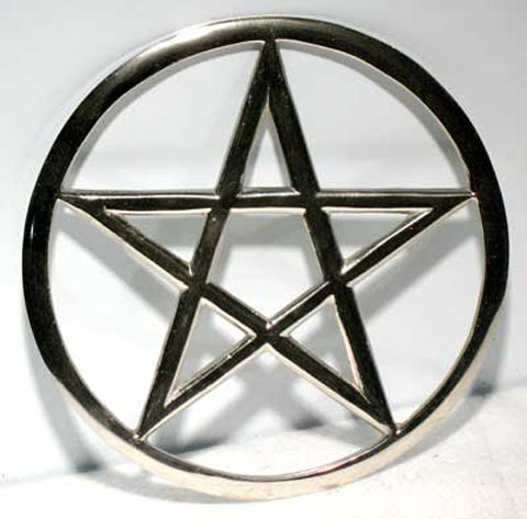 Large Cut Out 6 Inch Silver Pentagram Altar Tile