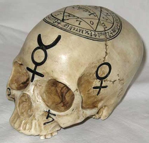 Gothic Mystic Symbols Alchemist Skull Statue
