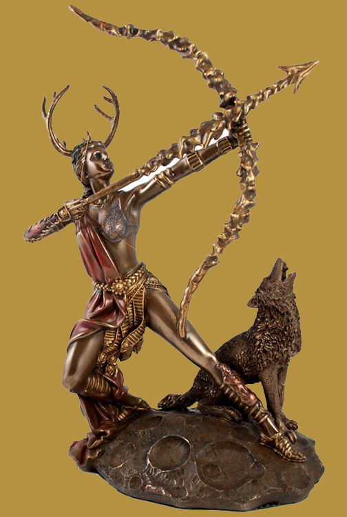 Artemis Goddess of Forests Painted Bronze Statue