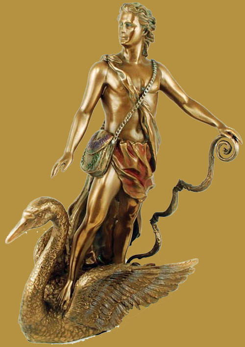 Apollo Healing God of Sun Painted Bronze Statue