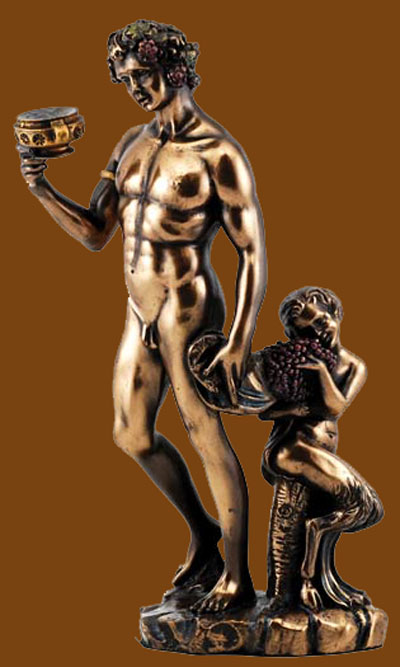 Bacchus God of Wine Painted Bronze Statue