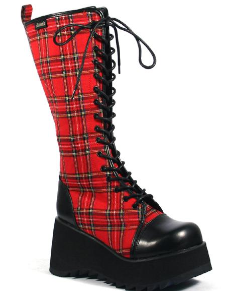 knee hi lace up plaid platform boots