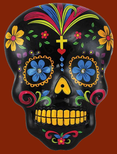 Black Day of the Dead Mexican Skull Wall Plaque