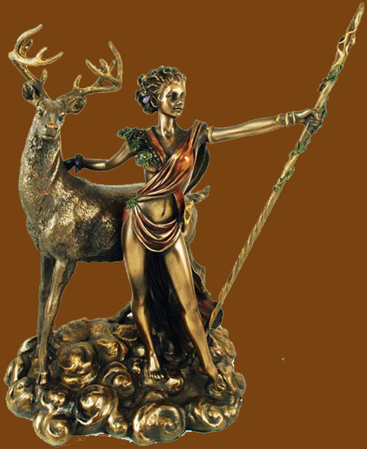 Goddess Diana The Hunter Painted Bronze Statue