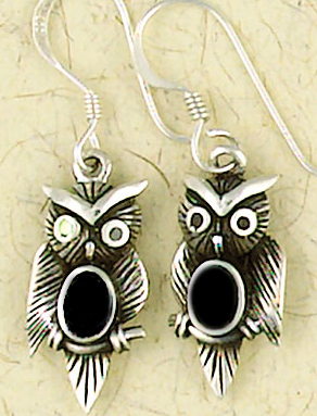 Gothic Pagan Onyx Sterling Silver Owl Earrings