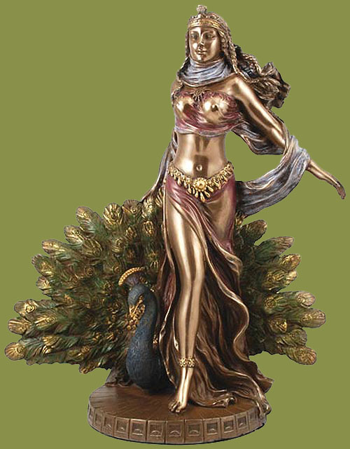 Hera Greek Goddess of Women Painted Bronze Statue