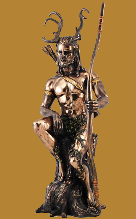 Herne the Hunter w/Bow Painted Bronze Statue