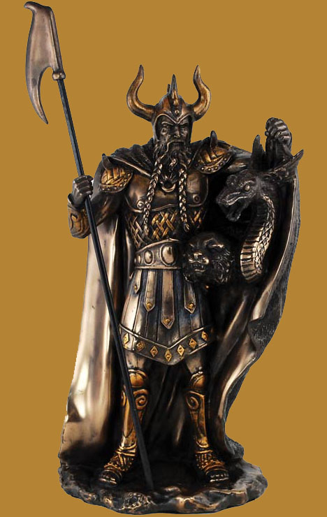 Norse God Loki Painted Bronze Statue