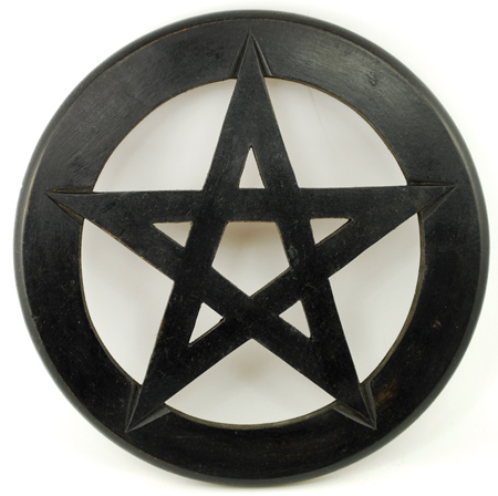 Wood 12 Inch Pentagram Wall Hanging Altar Tile
