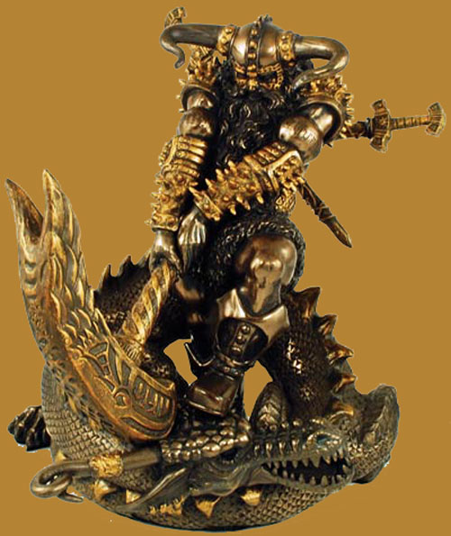 Thor and Hammer Warrior Painted Bronze Statue