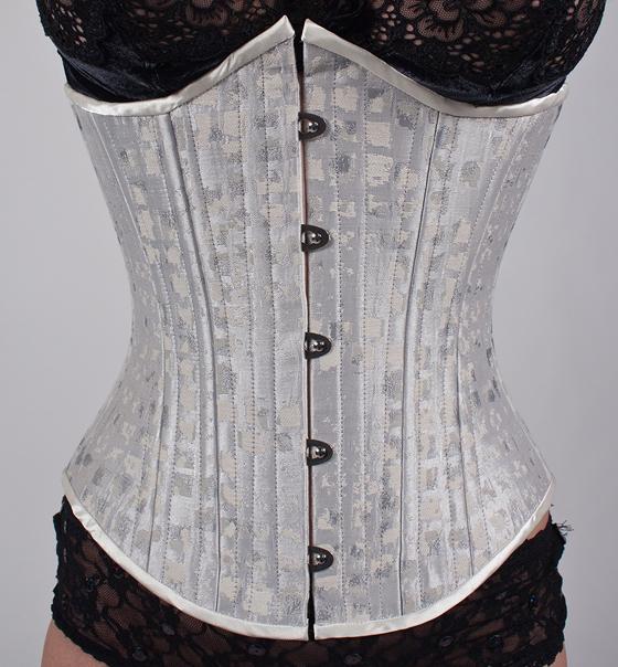 Ice white wedding satin steel underbust corset for White corset under wedding dress