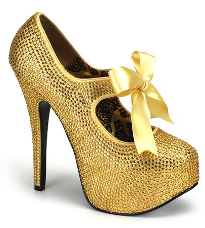Gold Rhinestone 6 Inch Burlesque Heels