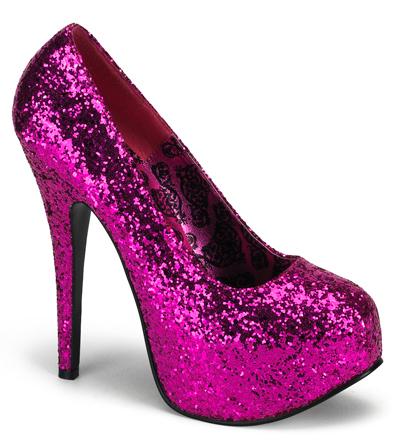 Fuschia Glitter 6 Inch Burlesque Platform Heels Sz 8