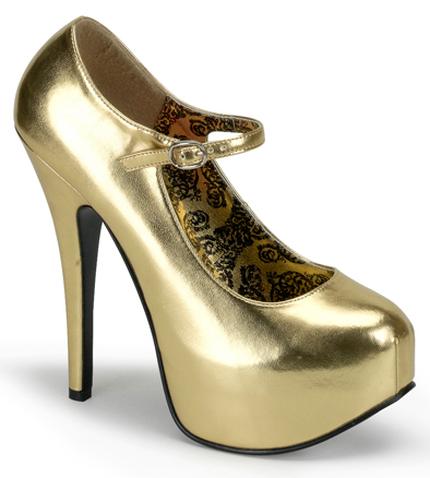 "Gold Mary Jane 6"" Heels"