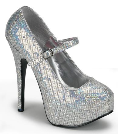 Silver Sequin Ankle Strap 6 Inch Burlesque Platform Heels