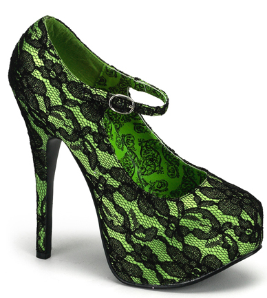 Green Lace 6 Inch Type O Negative Heels