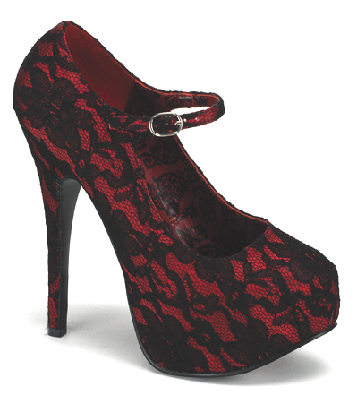 Red Lace 6 Inch Burlesque Heels