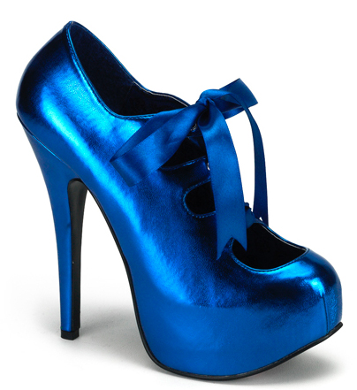 Metallic Blue 6 Inch Burlesque Heels