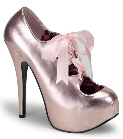 Metallic Pink 6 Inch Burlesque Heels