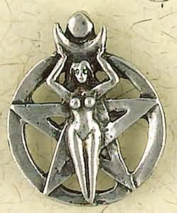 Pentacle Goddess Drawing Down Moon Pendant