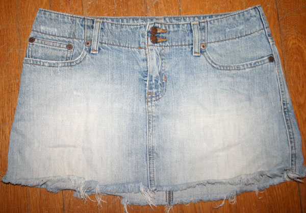 Abercrombie Fitch Frayed Denim Mini Skirt Sz 4