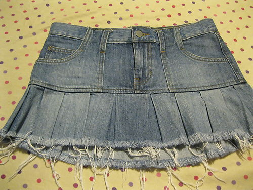 Abercrombie & Fitch Destroyed Denim Schoolgirl Mini Skirt 0
