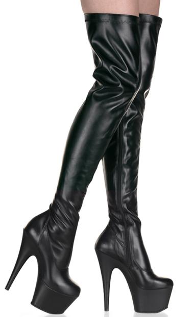 Fetish Second Skin Black Vinyl 7 Inch Thigh Hi Boots